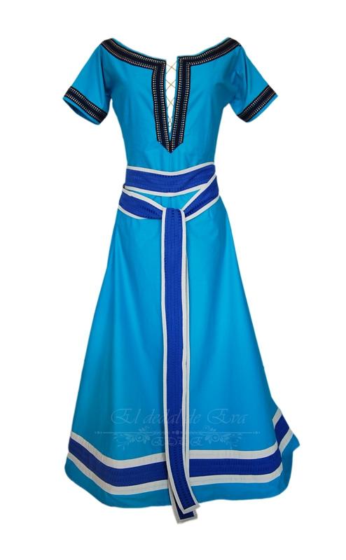 Vestido medieval. Adornos azules<br> consultar nueva elaboración