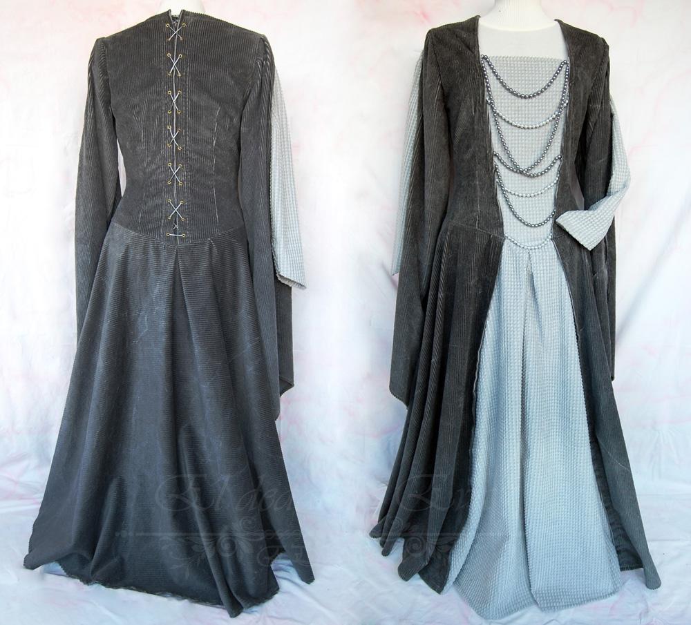Vestido medieval pana gris .<br>135€